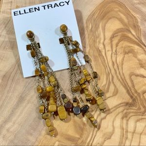 Ellen Tracy Semi Precious Stone Clio-on Earrings